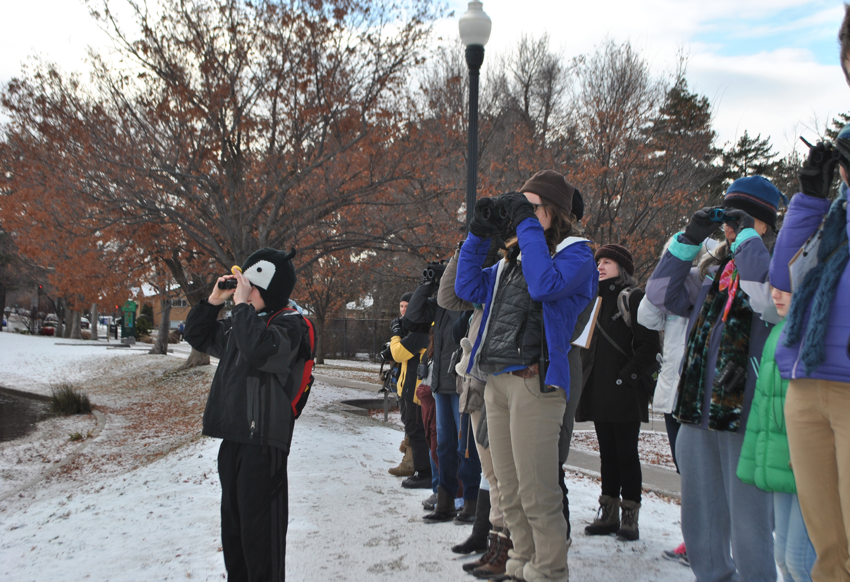 CBC4Kids participants counting birds at a snowy Liberty Lake