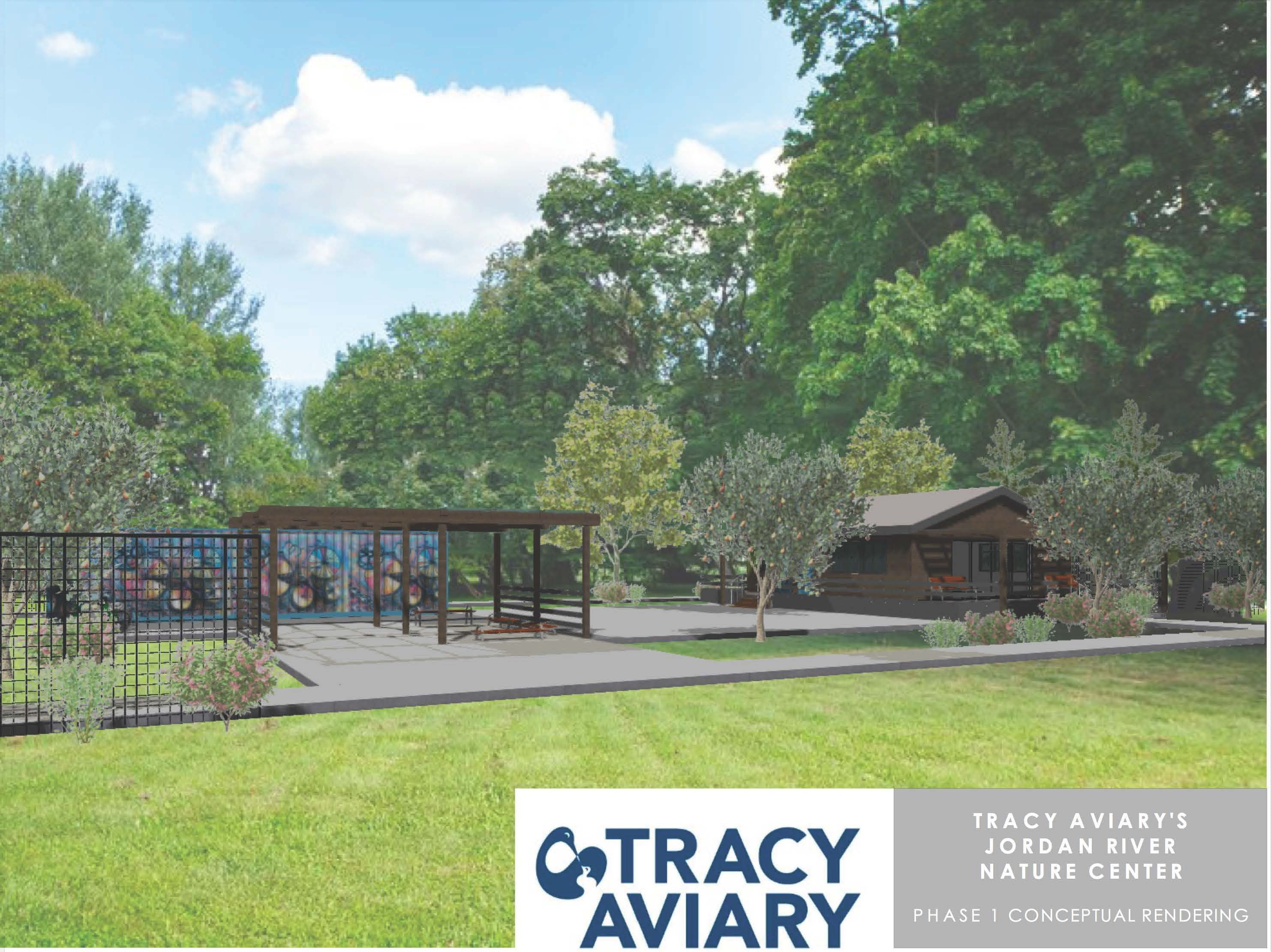 Rendering of transitional campus of Tracy Aviary's Jordan River Nature Center